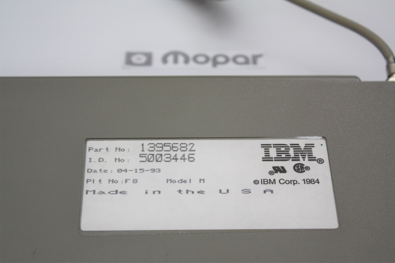 IBM INDY SSK - Mopar IBM 1395682 rear label.JPG