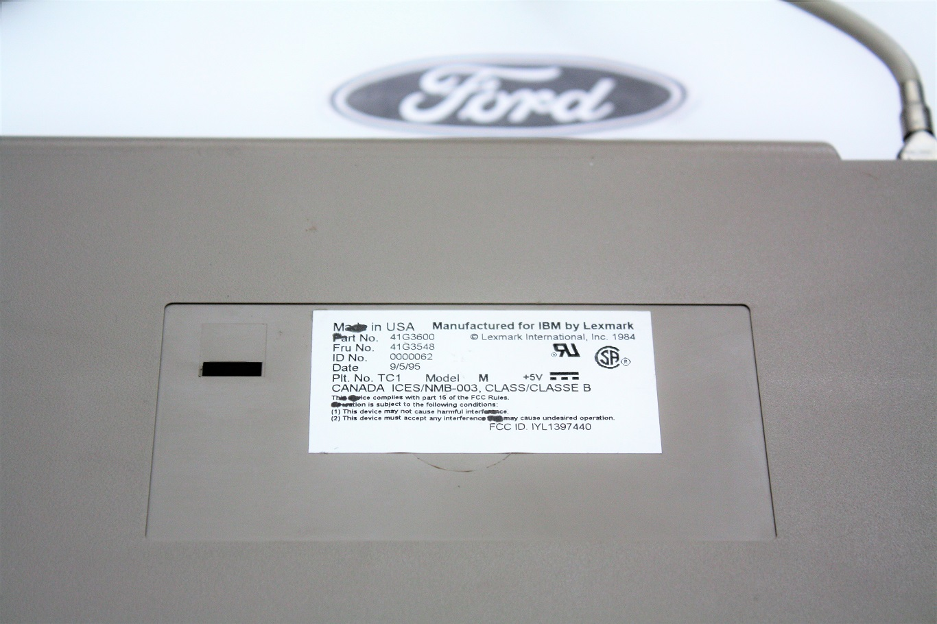IBM INDY SSK - Ford Lexmark 41G3600 rear label.JPG