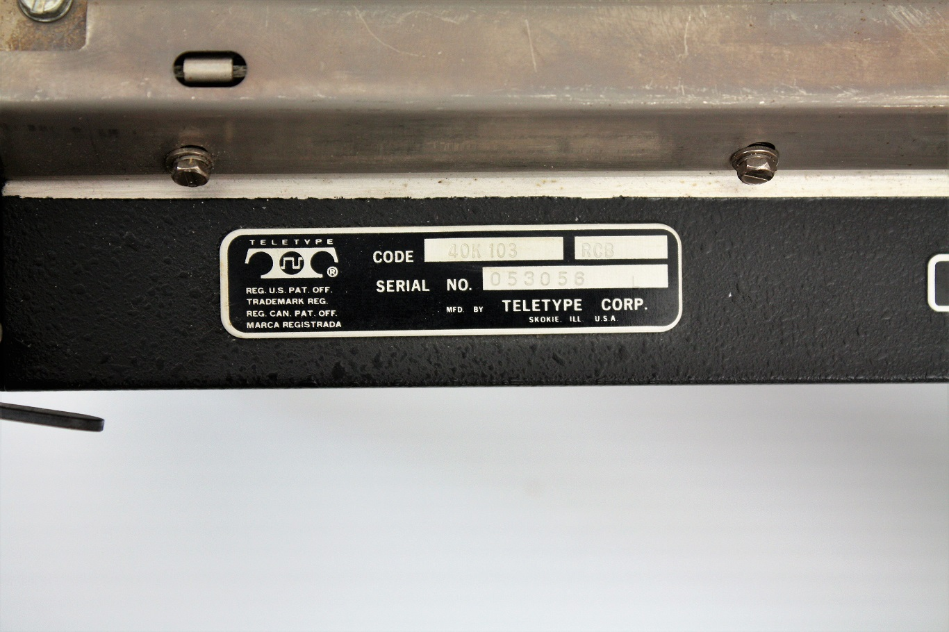 Teletype 40K 103 RCB -manufacturer label.JPG