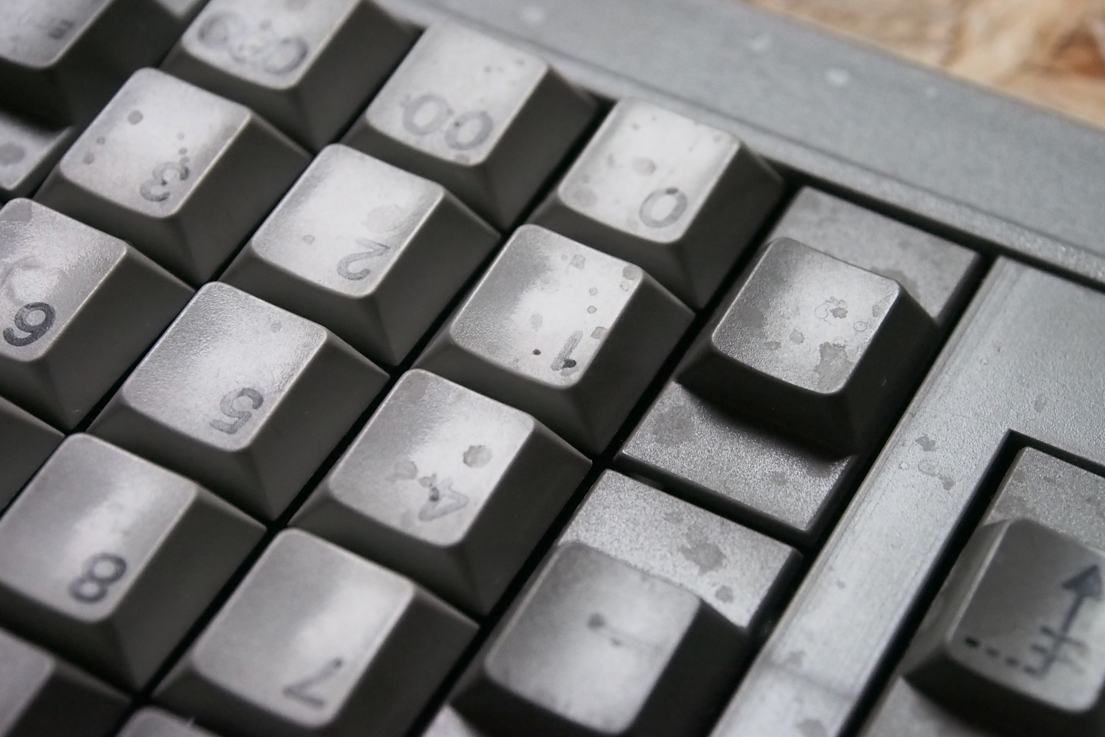 Unfortunately, the keyboard was coated in something nasty, which I can't seem to get off