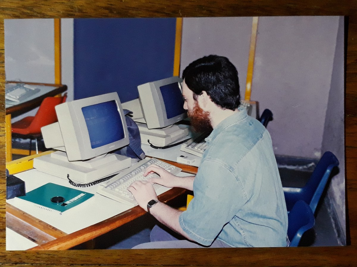 14 March 1994: bearded git on an Ampex 220 terminal.
