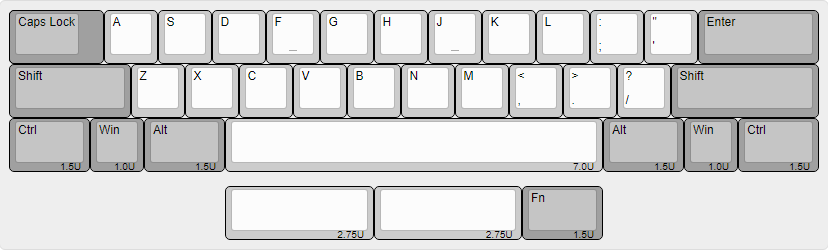 Symmetrically split space bar.