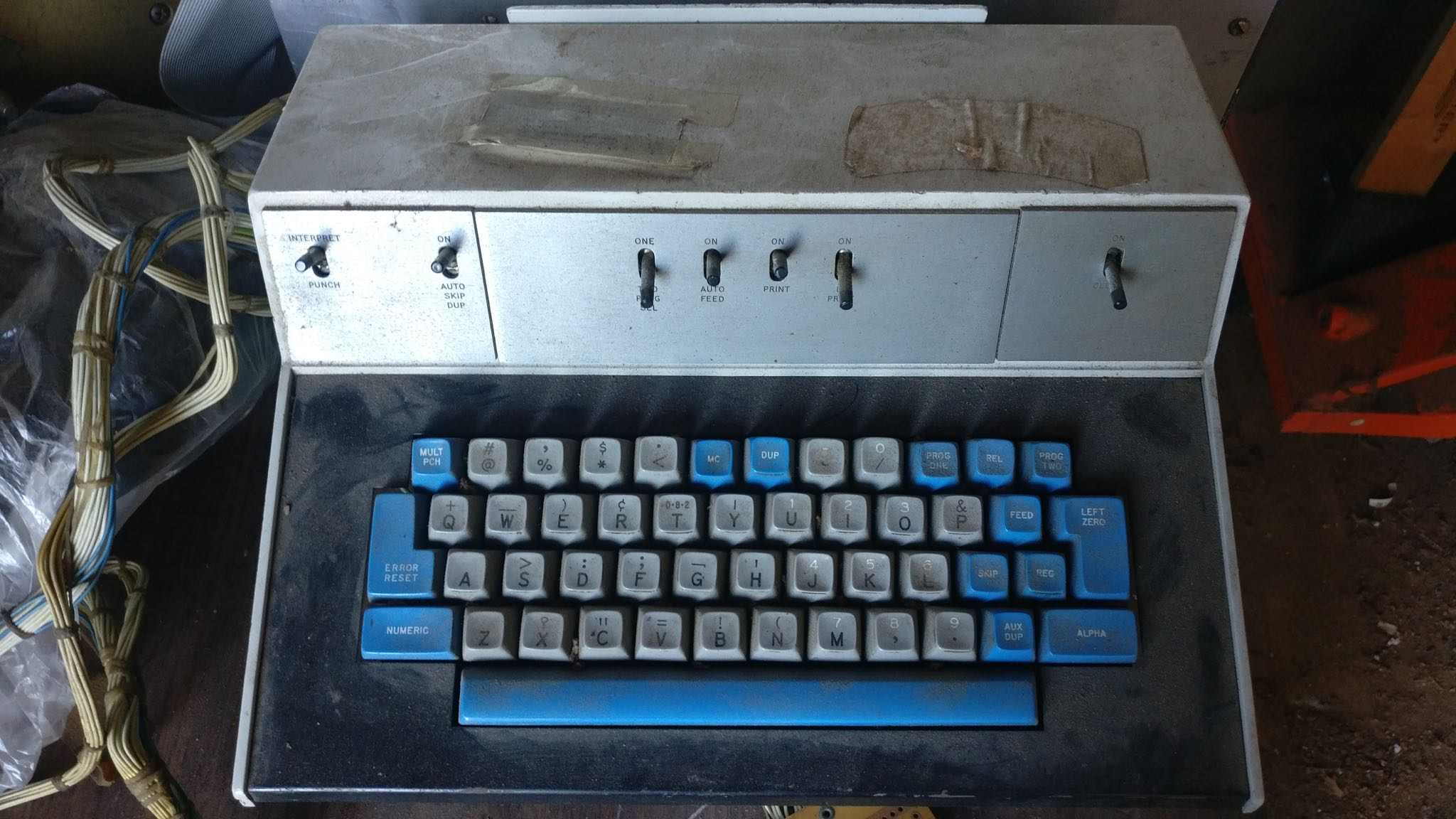 IBM punchcard machine keyboard, seven remaining.