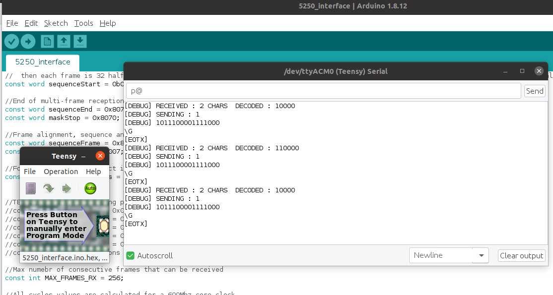 Sending commands to the 5251 and getting responses from the Arduino serial console