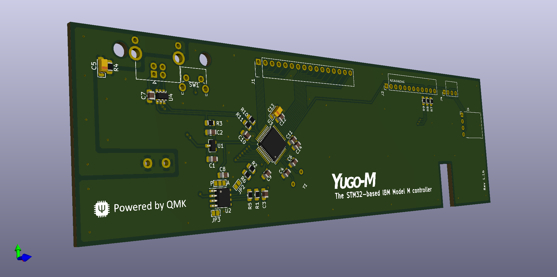 Render of the last revision. Circuit is tested, I just still don't have any assembled PCBs that look like this.