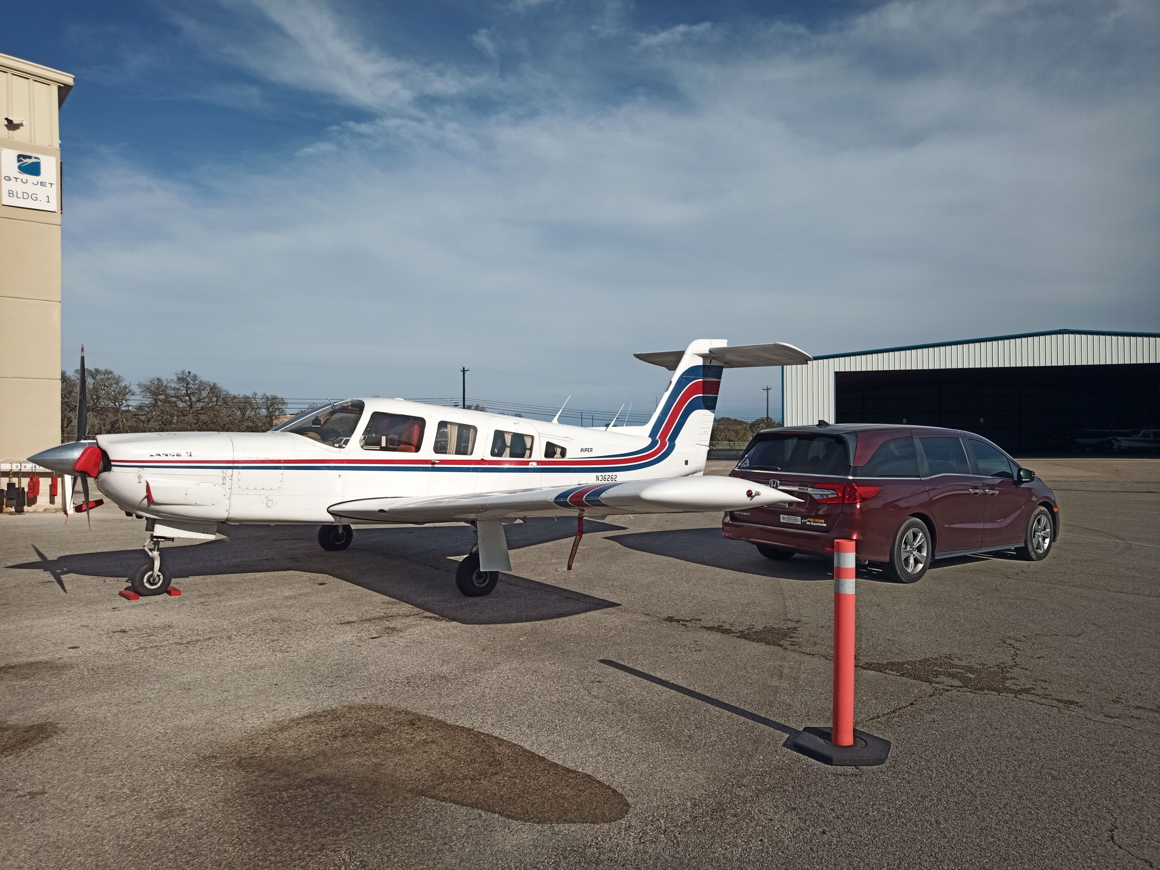 The Piper Lance II is basically a flying minivan. It gets unloaded into a regular non-flying minivan.