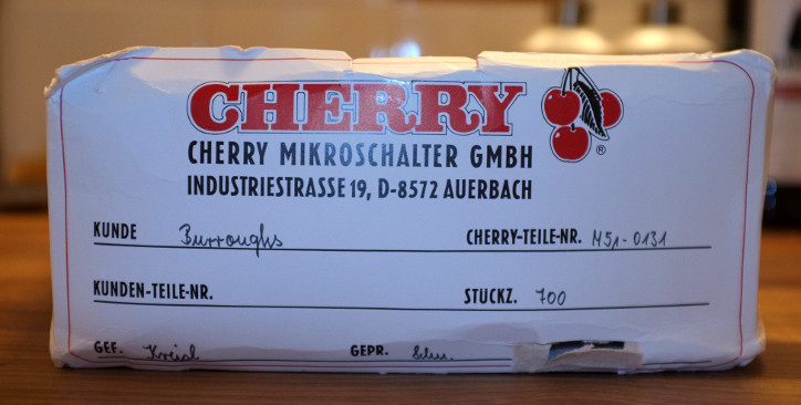 Cherry M51-0131 shipping box, from a delivery originally intended for Burroughs Corporation; no date indicated.