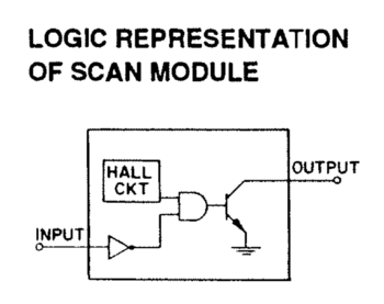 Sense circuit schematic for a Honeywell Hall Effect switch